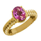 2.30 Ct Oval Pink Mystic Topaz 14K Yellow Gold Ring