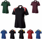 WOMEN'S WICKING, V-NECK w/ COLLAR, TEXTURED POLY, COLORBLOCK, POLO, S M L XL 2X