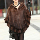 QD11623 Genuine Knitted Mink Fur Shawl/Wrap/Cape with Hoody Lace Design Poncho
