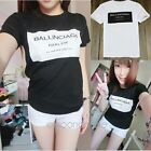 Korean Lady Casual Loose T-shirt Letter Print Blouse Tops Pullover Short Sleeve