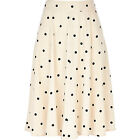 RIVER ISLAND ASOS Summer 1960s Polka Dot Spot Cream Black White Midi Skirt 6-14