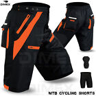 MTB Cycling Short Off Road Cycle CoolMax Padded Liner Shorts Blk/Orange M to 2XL
