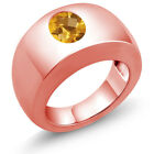 1.60 Ct Oval Checkerboard Yellow VS Citrine 14K Rose Gold Men's Solitaire Ring