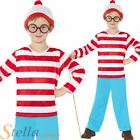 Boy's Official Where's Wally Book Week Fancy Dress Costume + Hat + Glasses