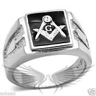 Men's Masonic Freemason Ring Stainless Steel Top Grade Crystal Accented TK1158