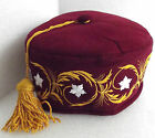 Maroon smoking hat Gold tassel White flowers Mans smoking cap Choice of size