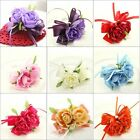 1Pc Brides Bridesmaids Rose Corsage Brooch Silk Flower Wedding Party Favors Pin