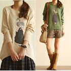 Nice Cheap Woman Round Neck Doll Print Knit Sweater Knitwear Pullover KZ