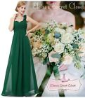 NWT Dark Green Emerald Corsage Chiffon Maxi Prom Evening Bridesmaid Dress 8 -18