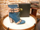 June Ambrose Theme Teal Green Calfhair Lace up Ankle Boot New