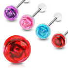 Steel Rose Flower Tongue rings barbell red blue pink purple 14g gauge 5/8