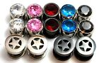 2 PAIRS Gem PLUGS gauges tunnels steel titanium red black pink star YOU PICK TWO
