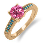 1.72 Ct Round Pink Mystic Topaz Blue Diamond 18K Rose Gold Engagement Ring