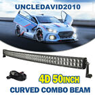 50INCH 480W CREE LED CURVED WORK LIGHT BAR FLOOD SPOT OFFROAD UTE BOAT 4X4 Truck