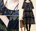 Fashion Women Girle Casual Size Loose Linen Blend Floral Print A-Line Dress New
