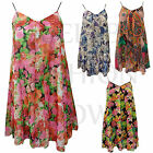 Ladies Womens Floral Flower Print Strappy Chiffon Swing Flared Summer Vest Top