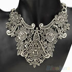 Baroque Retro Geometric Flower Hollow Bib Necklace Silver Gold Plated Pendant