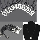 New Silver Men Women Stainless Steel Number 0-9 Pendant Leather Cord Necklace