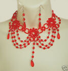 GORGEOUS RED BEAD BURLESQUE MOULIN ROUGE PROM CHOKER/NECKLACE & EARRING SET