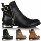 Ladies Women Metal Trim Leather Style Chelsea Ankle Biker Riding Zip Boots Shoes