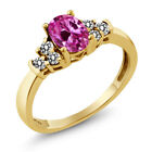0.80 Ct Pink Created Sapphire White Diamond 925 Yellow Gold Plated Silver Ring