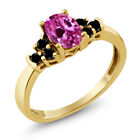 0.80 Ct Oval Pink Created Sapphire Black Diamond 14K Yellow Gold Ring