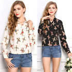 HOT CHEAP SALE Vintage Women Pretty Pattern Long Sleeve Casual Shirt Tops Blouse