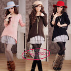 US4-18 Hot 2 Pcs Set Lace Ruffle Mini Dress + Long Sleeves Knit Sweater  SJ1523