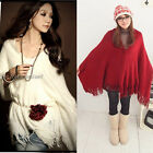 Vogue Women's Winter Fringe Shawl Poncho Knit Wool-like Blouse Cover Up SP217
