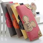 New Lady Girls PU Leather Fashion Micky Mouse Long Wallet Hand Bag Clutch Purse