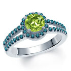 1.40 Ct Round Green Peridot Blue Diamond 14K White Gold Ring