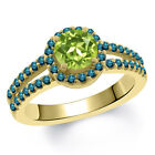1.40 Ct Round Green Peridot Blue Diamond 18K Yellow Gold Ring