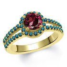 1.50 Ct Round Red Rhodolite Garnet Blue Diamond 18K Yellow Gold Ring