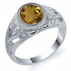 4.30 Ct Oval Champagne Quartz 925 Sterling Silver Men's Ring