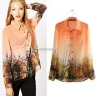 Floral Print Blouse Chiffon Long Sleeve Button Lapel Shirt Top S/M/L Women N98B
