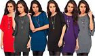 New Womens Ladies 3/4 Sleeve Batwing Top Knitted Necklace Jumper Size 8 10 1214