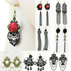 Vintage Handmade Rose Pearl Tassels Gothic Chic Lace Dangle Drop Earrings UT296