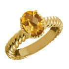 1.60 Ct Oval Checkerboard Yellow Citrine 14K Yellow Gold Ring
