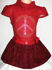 GIRLS RED GOLD SPARKLE LOGO KNIT WOOLLY WINTER PARTY DRESS with BELT