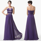 Formal Long Beads Sexy Lady Cocktail Chiffon Gown Evening Party Dress Bridesmaid