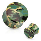 Pair Green Camouflage Printed Acrylic Saddle Ear Plugs Gauges