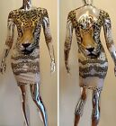 USA Seller Sexy Leopard Head Sublimation Print Fitted Bodycon Club Dress