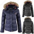 NEW LADIES PADDED PUFFER JACKET WOMEN DETACHABLE HOODED FUR WINTER COATS JACKETS