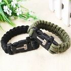 New  Survival Paracord Bracelet Flint Fire Starter Scraper Whistle Gear Kits