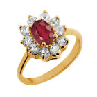 1.42 Ct Oval Natural African Red Ruby 18K Yellow Gold Ring