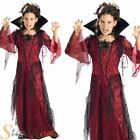 Girls Deluxe Red Black Vampiress Gothic Vampire Halloween Fancy Dress Costume