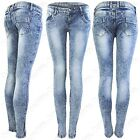 NEW LADIES MARBLE WASH ZIP SKINNY JEANS WOMENS SLIM STRETCH BLUE DENIM FIT JEAN