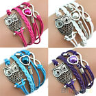 Infinity Owl Heart Pearl Friendship Leather Charms Multilayer Bracelet Jewelry