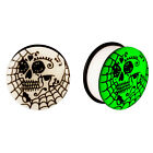 Acrylic GLOW IN THE DARK Skull Web Single Flared Plugs Ear Earlet Black