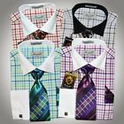 Fratello White Collar Windowpane Dress Shirt Tie Hankie & Cuff Links Set $60